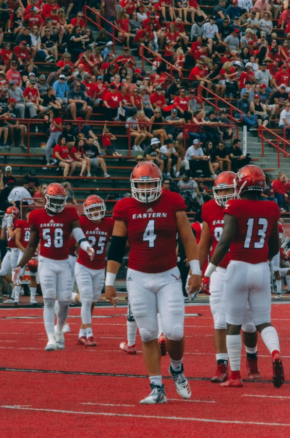 The EWU defense takes the field during a 59-31 victory over Lindenwood on Sept. 7.
