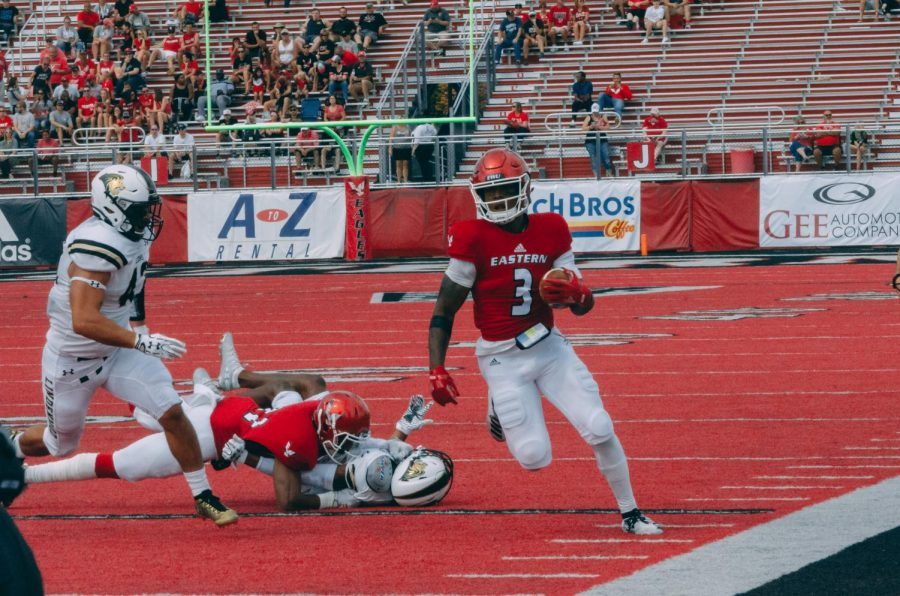EWU junior QB Eric Barriere scrambles during EWU's game against Lindenwood on Sept. 7. Barriere threw for five touchdowns but had two key interceptions in EWU's Sept. 14 loss at Jacksonville State.