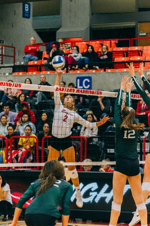 EWU junior outside hitter Catelyn Linke attacks the ball during the Eagles' loss to PSU Friday.