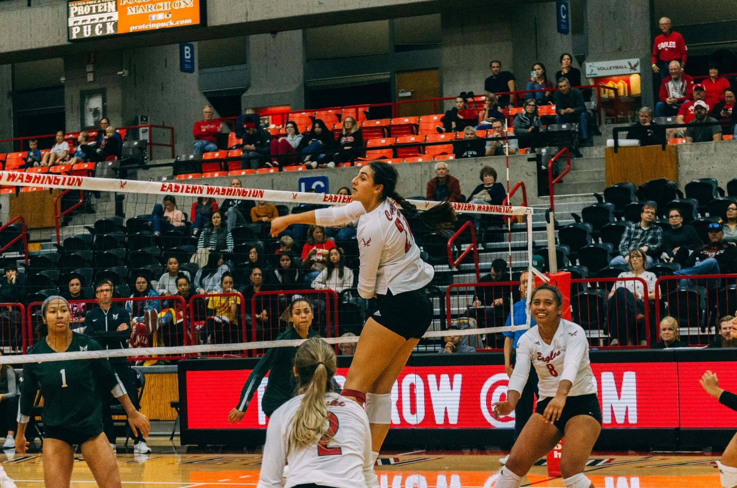 EWU freshman middle blocker Nicoletta Capizzi (middle) goes airborne during the Eagles' loss to PSU Friday.