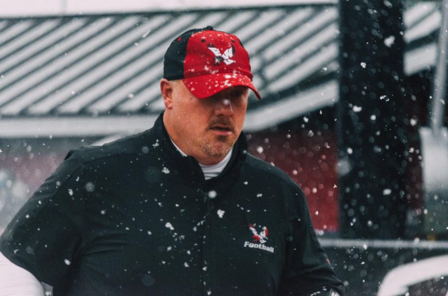 EWU head coach Aaron Best patrols the sidelines during the Eagles' 35-20 victory over UND Saturday.