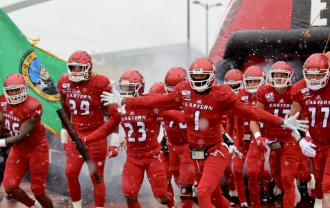 EWU takes the field in snowy and windy conditions. EWU beat UND 35-20 Saturday.