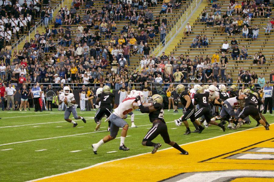 The EWU offense runs a play inside the Idaho 10-yard line. Idaho beat EWU 35-27 on Sept. 21.