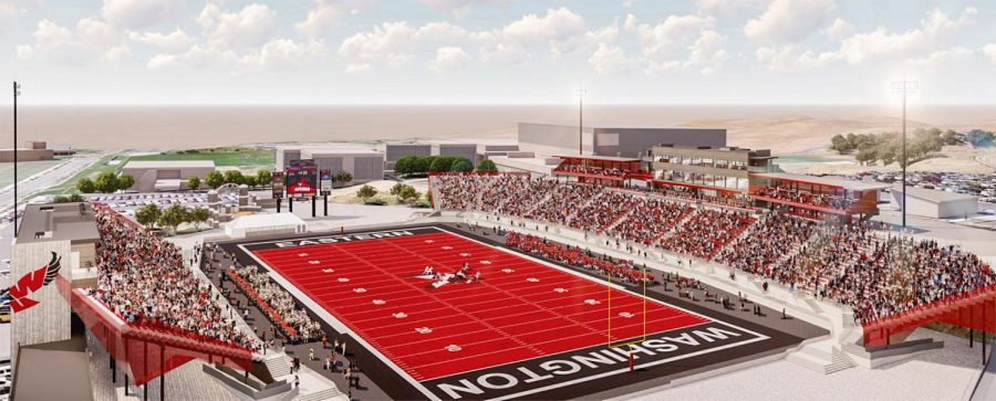 One of the renderings of the proposed football stadium renovation. Construction will begin as soon as the $25 million is raised.