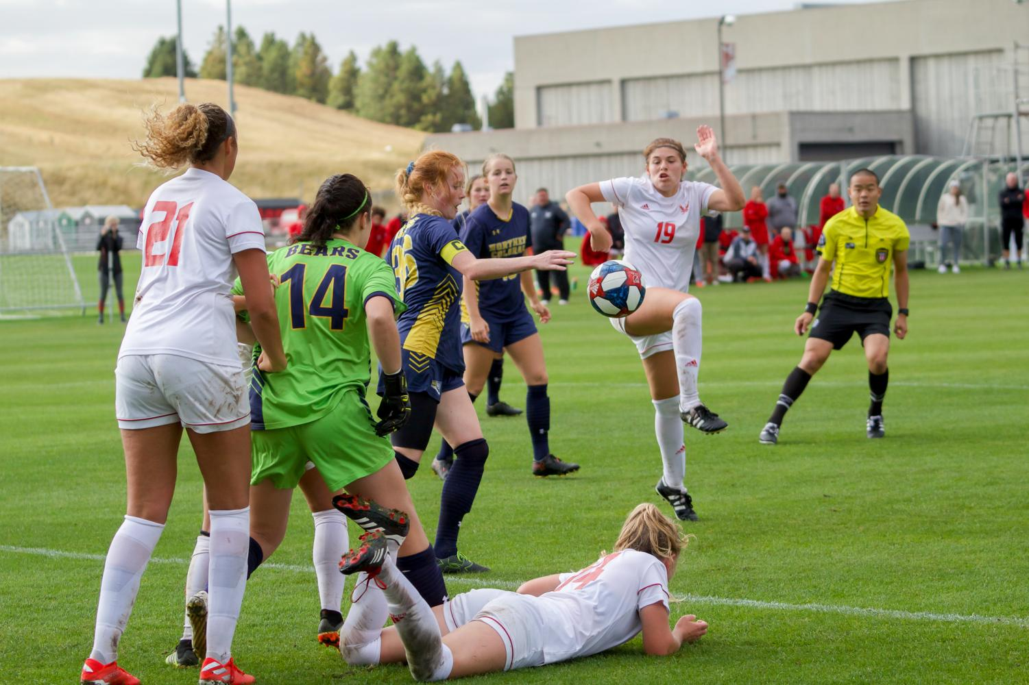 EWU and UNC players fight for the ball during the two teams' 1-1 draw Friday.