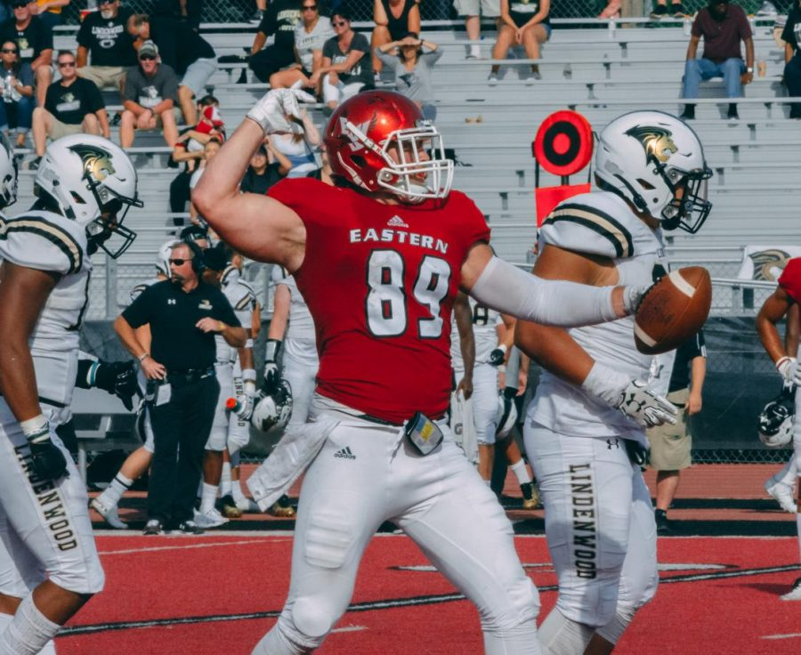 EWU senior tight end Jayce Gilder celebrates a first down on Sept. 7. Gilder will be playing in his home state of Montana Saturday.