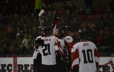 EWU celebrates a goal during its 6-2 victory over SRJC Thursday.