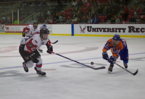 EWU sophomore forward Mitch Hunt (left, #29) pursues the puck. The Eagles swept Boise State in a two-game weekend series.