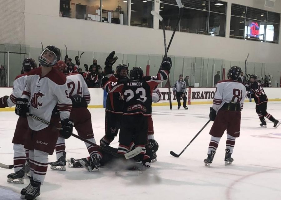 EWU celebrates a goal. The Eagles swept WSU in a two-game series over the weekend.