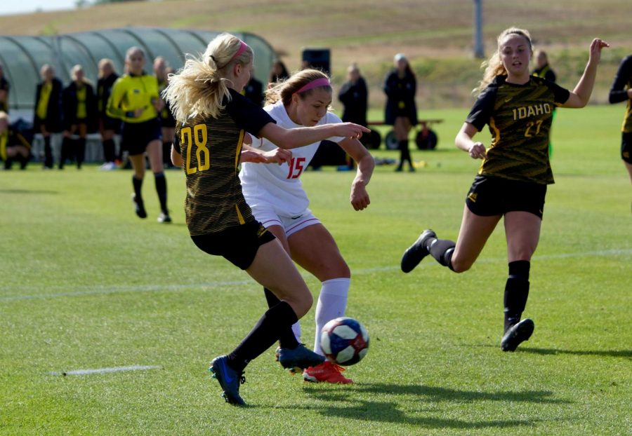 EWU freshman forward Maddie Morgan fights for the ball. Morgan scored a goal in EWU's 3-1 victory over Idaho Sunday.