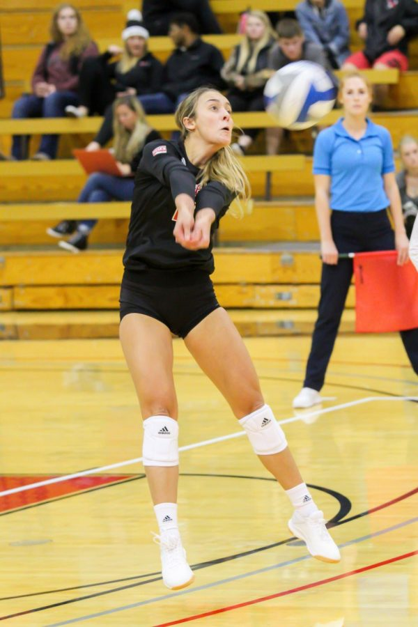 EWU junior outside hitter Catelyn Linke bumps the ball during the Eagles' four-set loss to Idaho Tuesday.