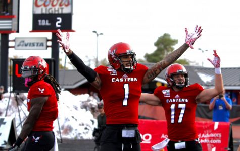 EWU junior wide receiver Talolo Limu-Jones celebrates a touchdown. Limu-Jones had a career-high three touchdowns in EWU's 54-21 victory over Northern Colorado Saturday.