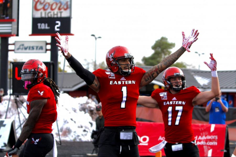 EWU+junior+wide+receiver+Talolo+Limu-Jones+celebrates+a+touchdown.+Limu-Jones+had+a+career-high+three+touchdowns+in+EWU%27s+54-21+victory+over+Northern+Colorado+Saturday.