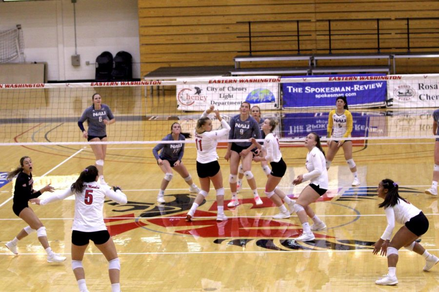 EWU and NAU volley back and forth. EWU lost to NAU in four sets on Oct. 19, 2019.