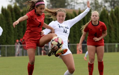 EWU sophomore forward Sariah Keister attacks the ball. Keister scored her sixth goal of the season in EWU's 2-0 win over NAU Sunday.