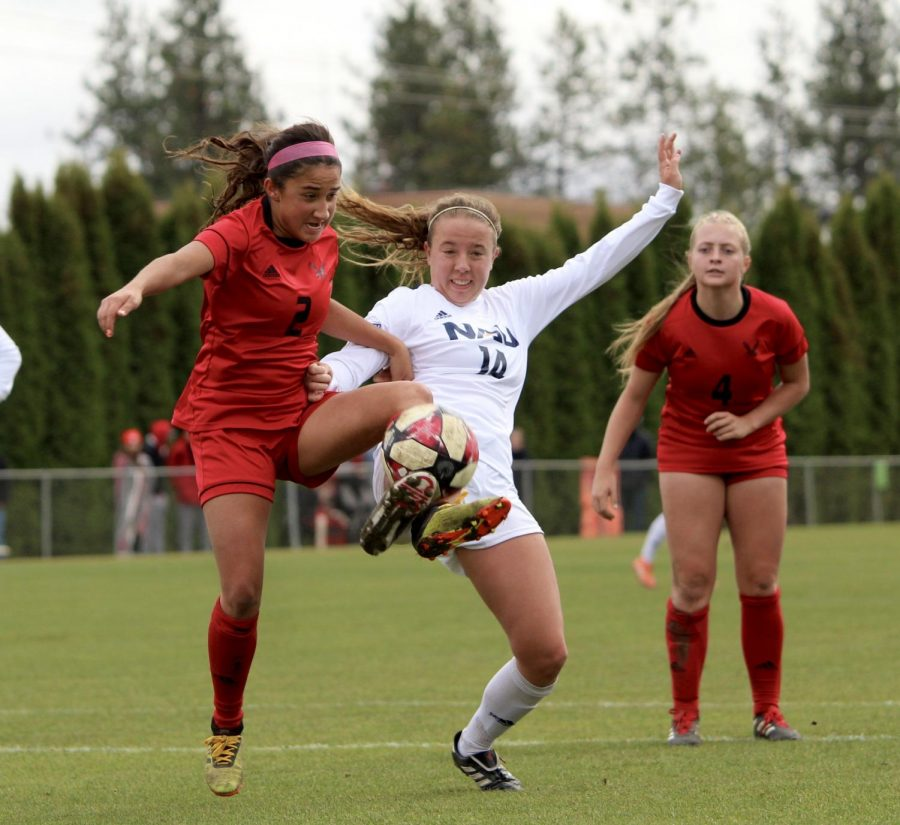 EWU sophomore forward Sariah Keister attacks the ball. Keister scored her sixth goal of the season in EWU's 2-0 win over NAU Sunday.