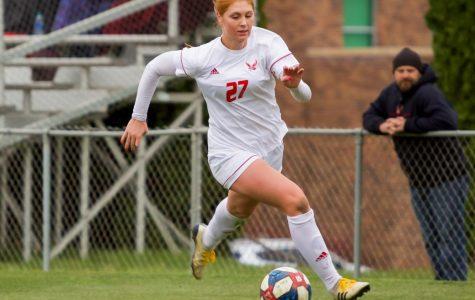 EWU senior forward Brooke Dunbar chases the ball along the sideline. Dunbar scored her fourth goal of the season during EWU's 3-0 victory over Southern Utah on Oct. 18.