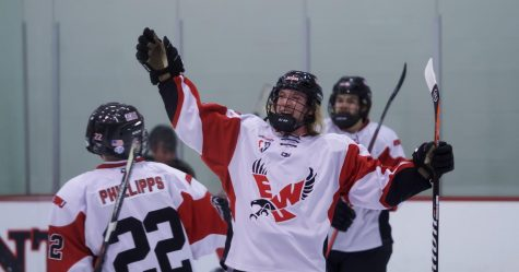 EWU senior forward Shane Smith celebrates a goal. Smith had two goals in EWUs 11-2 victory over Idaho Friday.