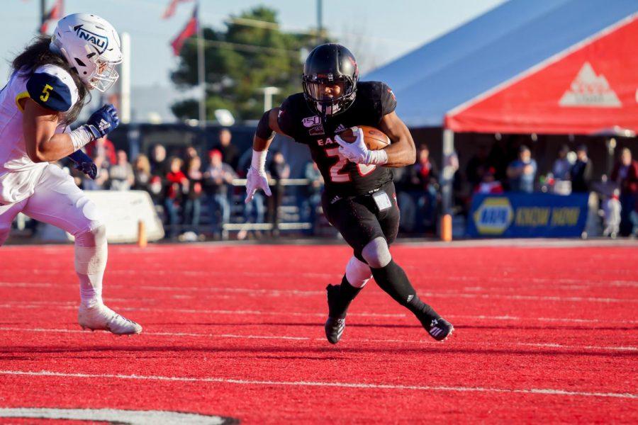 EWU senior running back Antoine Custer Jr. cuts upfield. Custer had 139 rushing yards and three touchdowns in EWU's 66-38 win over NAU Saturday.