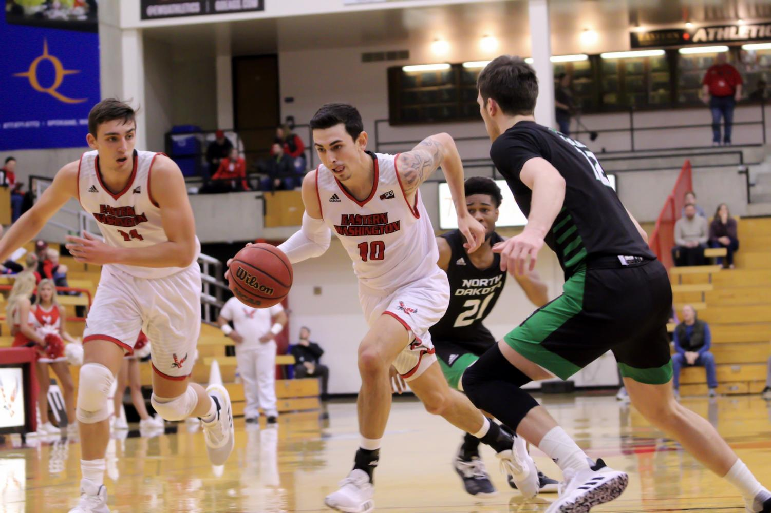 EWU junior guard Jacob Davison drives to the hoop for a layup. Davison scored 39 points Sunday, two away from tying his career-high.
