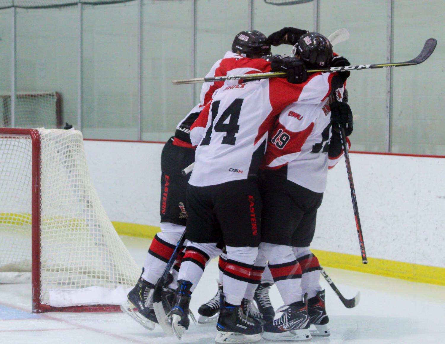 EWU players celebrate a goal during the Eagles' 6-4 victory over Montana State Saturday.