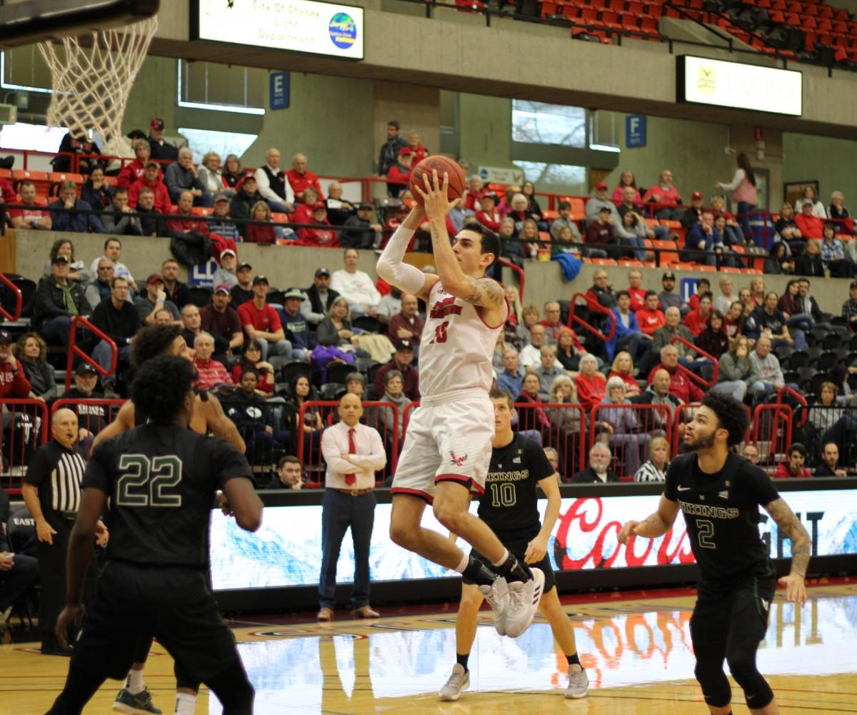 EWU junior guard Jacob Davison attacks the basket. Davison scored 26 points in EWU's 71-69 victory over PSU Saturday.