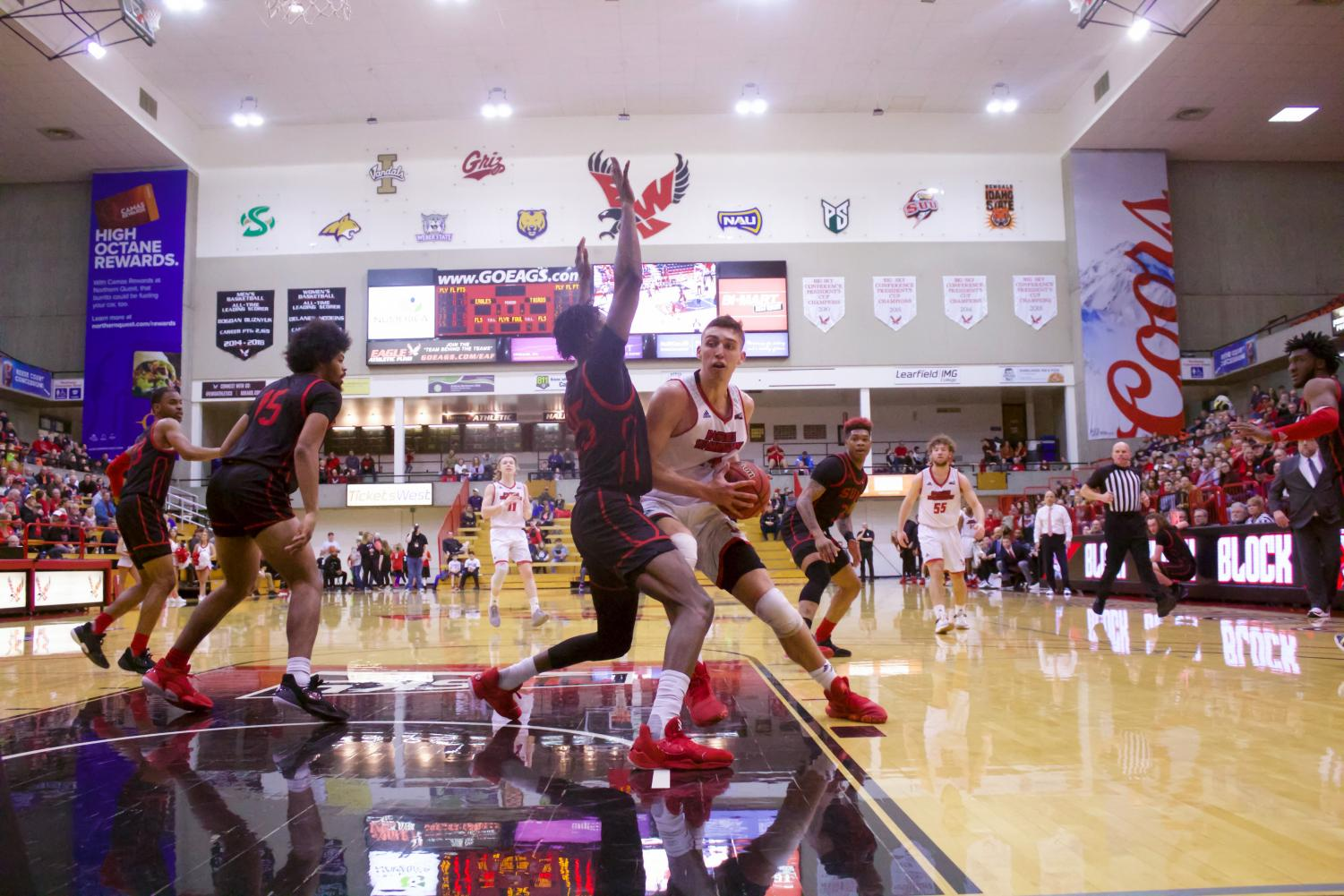 EWU senior forward Mason Peatling ducks in for a layup. Peatling scored 30 points and grabbed 11 rebounds in EWU's 81-78 victory over Southern Utah Saturday.