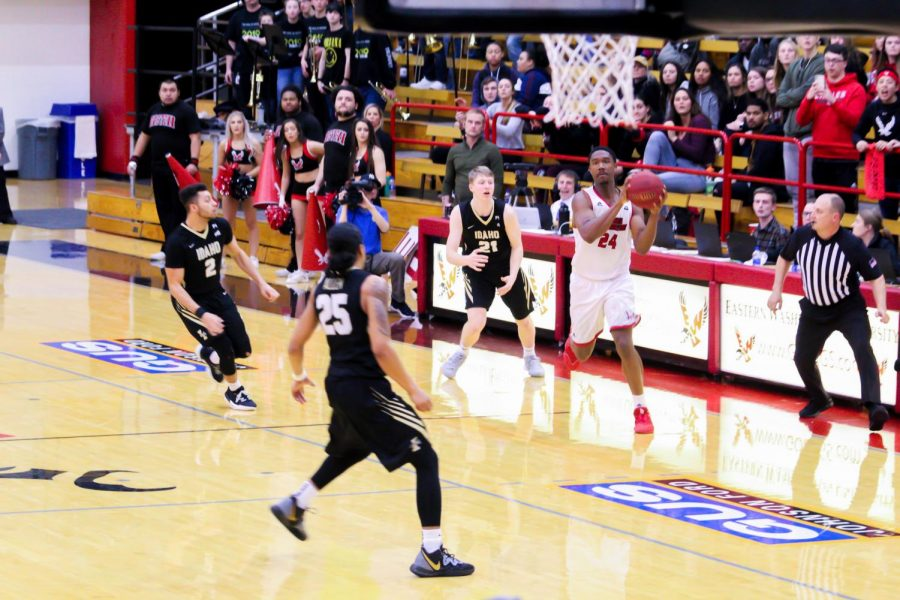 EWU sophomore guard/forward Kim Aiken Jr. attempts a game-tying three from near midcourt that would miss at the buzzer. Aiken was 2-13 from three in EWU's 74-71 loss to Idaho Thursday.