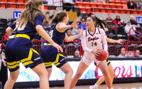 EWU sophomore center Bella Cravens looks to make a move on Feb. 3 versus NAU. Cravens had 11 points and 10 rebounds in EWU's 77-56 loss to UM Thursday.