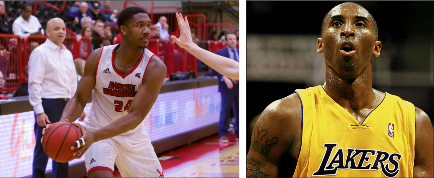 Left: EWU sophomore guard/forward Kim Aiken Jr. wears No. 24, one of Kobe Bryant's numbers. Photo by Mckenzie Ford for the Easterner. Right: Los Angeles Lakers legend Kobe Bryant. Photo from Wikimedia Commons.