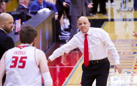 EWU head coach Shantay Legans gives instruction during EWU's 74-71 loss to Idaho Thursday. Legans was largely unhappy with EWU's effort in the game.
