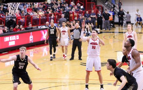 EWU junior guard Jacob Davison attempts a free throw that would give him 1,000 points for his career. Davison scored 21 points in EWU's 74-71 loss to Idaho Thursday.
