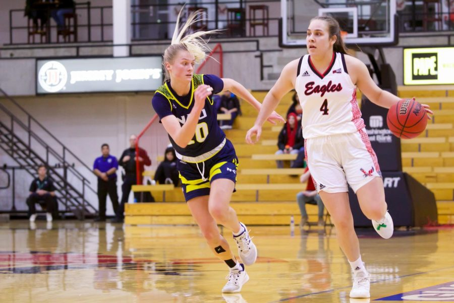 EWU sophomore point guard Jessica McDowell-White in control against Northern Arizona on Feb. 3. McDowell-White had a double-double in EWU's win over PSU Saturday.
