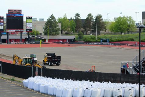 The process of replacing the turf at Roos Field has begun.