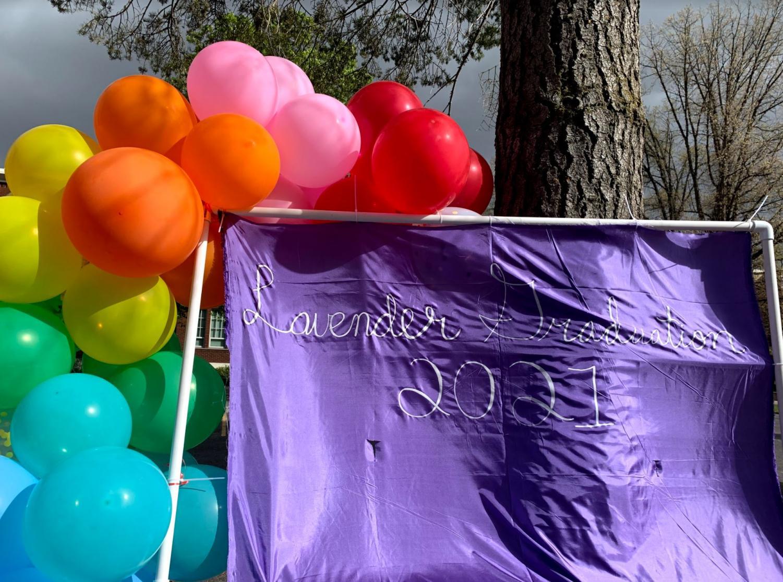 Photo station at EWU's 2021 Lavender Graduation.