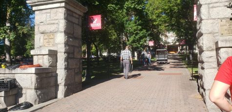 Students were able to walk between the pillars-a tradition done every year for the new students at EWU.