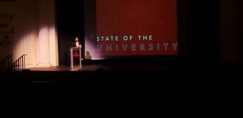 David May give a beginning of the year address to EWU.